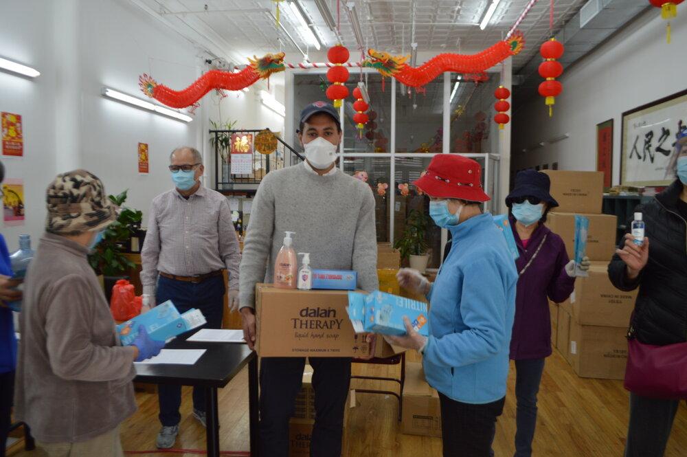 DID Member Chris Marte delivering masks, sanitizer and gloves to home attendants.